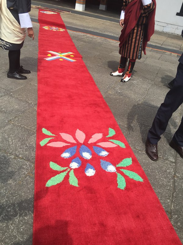 Bhutan red carpet rice design 2