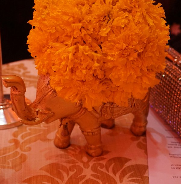 Bollywood gala dinner table centerpiece
