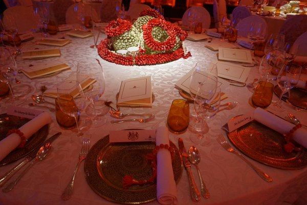 Bollywood gala dinner table setting