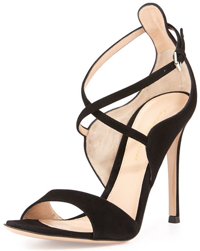 Gianvito Rossi Crisscross Ankle-Wrap Suede Sandal