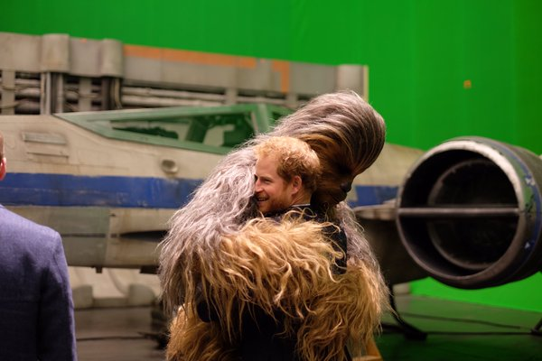 Harry hugs Chewbacca