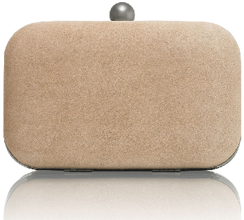 Russell & Bromley Curvy Clutch in nude suede