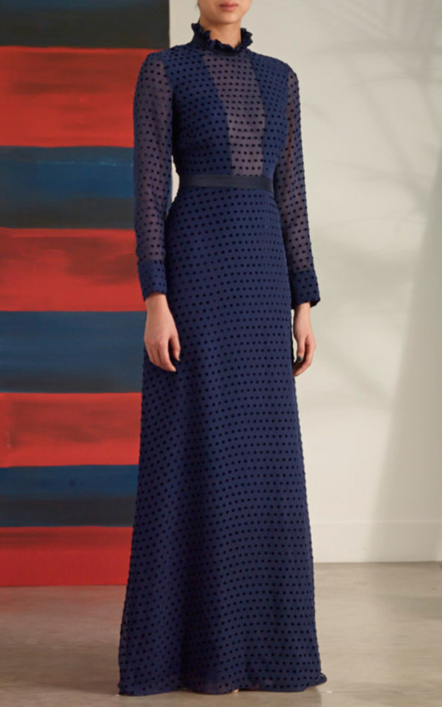 Saloni blue polka dot dress