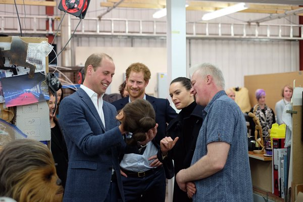 William, Harry, Daisy Ridley at Star Wars set