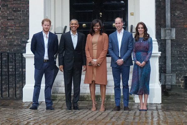 William, Kate, Harry with Obama and Michelle at KP