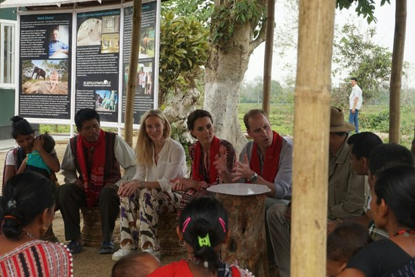William and Kate chat to villagers