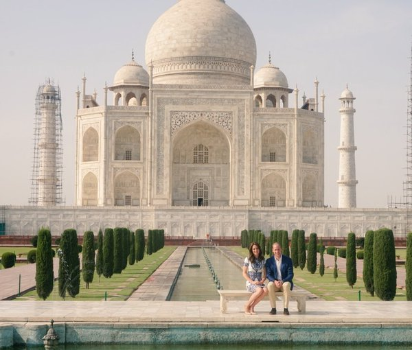 William and Kate sit in front of the Taj Mahal