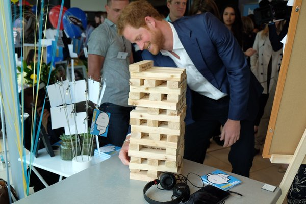 Harry playing jenga