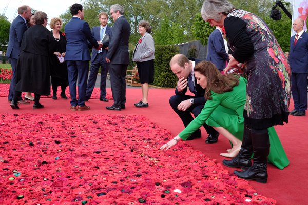 Kate, William at 5000 Poppies Chelsea Flower Show garden