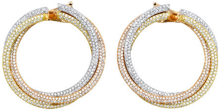 Cartier Diamond Tricolor Gold Trinity Hoop Earrings