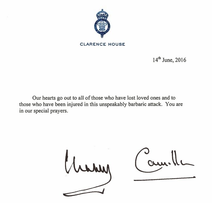 Charles and Camilla book of condolence message
