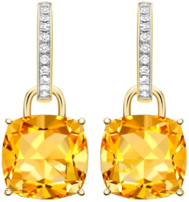 Kiki McDonough Citrine and Diamond Cushion Drop Earrings