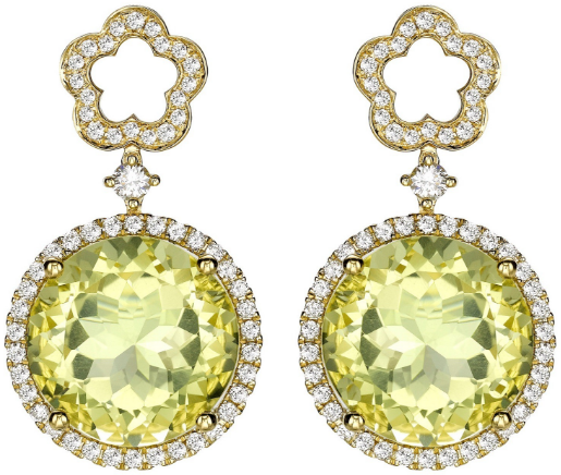 Kiki McDonough Eden Diamond Flower and Lemon Quartz Drop Earrings