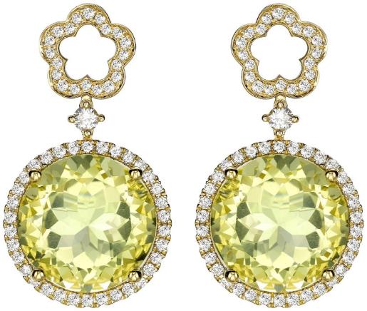 Kiki McDonough Eden Diamond Flower and Lemon Quartz Drop Earrings