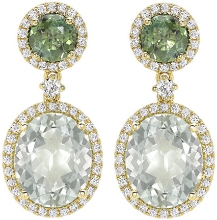 Kiki McDonough Green Tourmaline and Green Amethyst Oval Drop Earrings