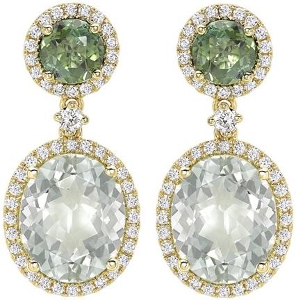 Kiki McDonough Green Tourmaline and Green Amethyst Oval Drop Earrings