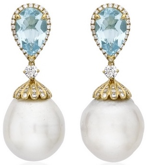 Kiki McDonough Kiki Classic Pearl and Blue Topaz Drop Earrings