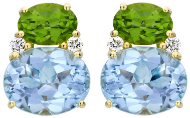Kiki McDonough Kiki Classic Peridot and Blue Topaz Double Oval Studs