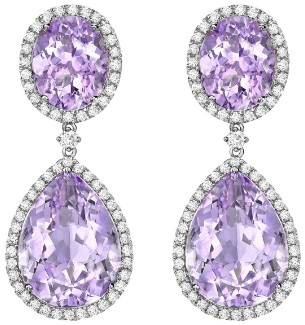 Kiki McDonough Lavender Amethyst Pear and Oval Drop Earrings