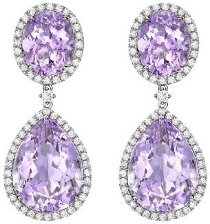 Kiki McDonough Lavender Amethyst Pear and Oval Drop Earrings