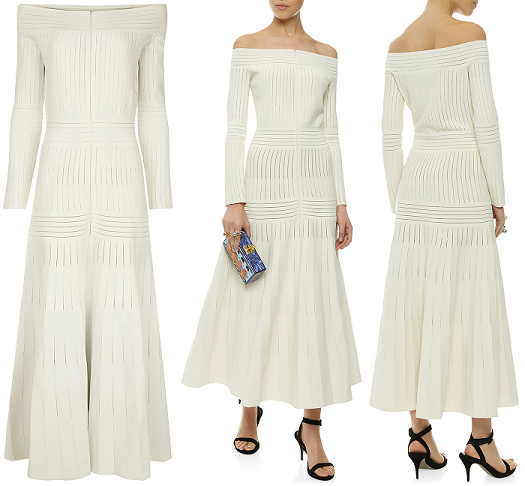 Barbara Casasola white off-the-shoulder dress