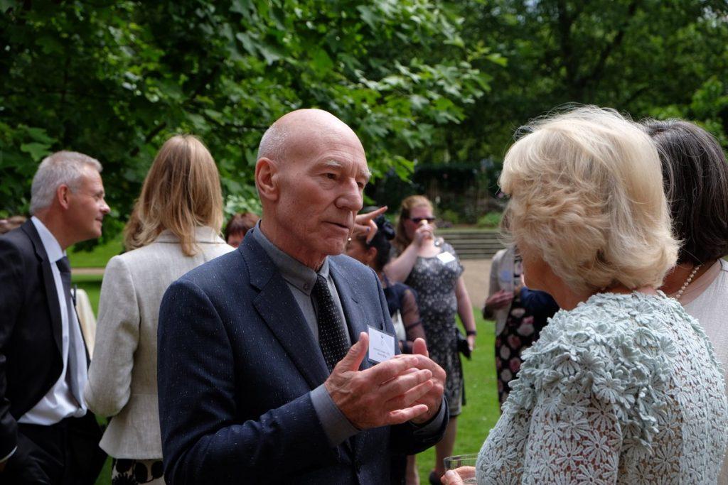 Camilla and Patrick Stewart at domestic violence reception
