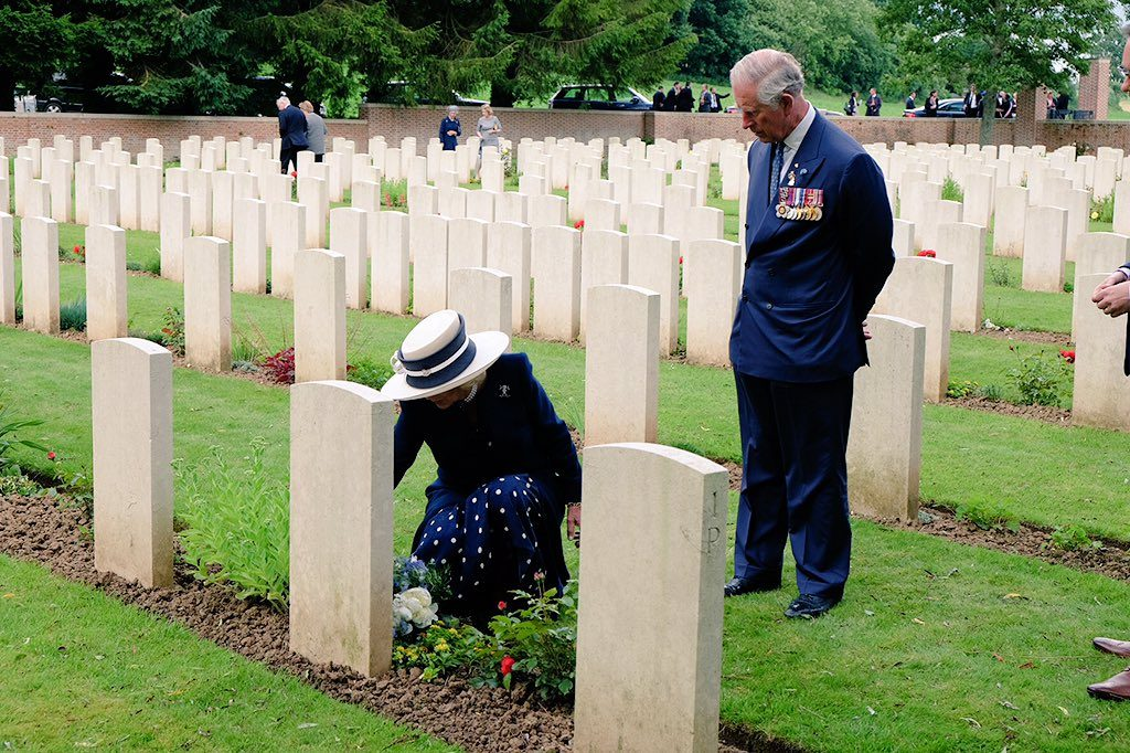 Camilla lays flowers at her Great Uncle's grave
