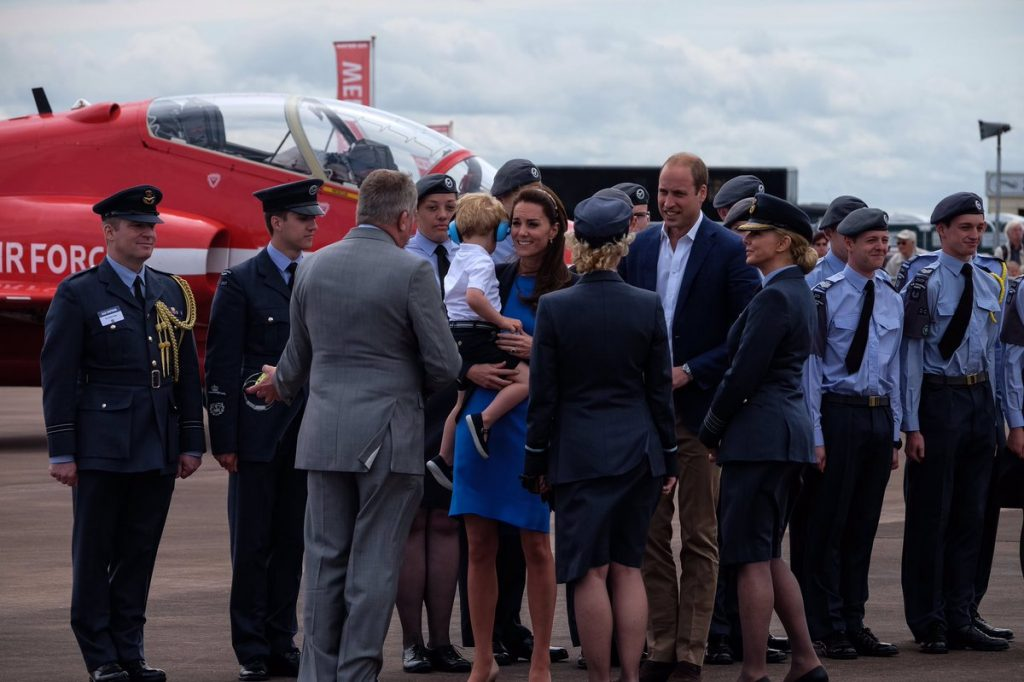 William, Kate, George meet Air Cadets at air show