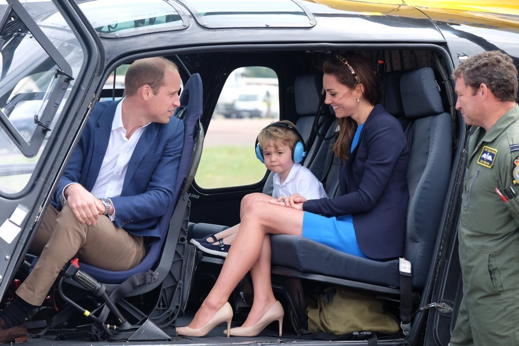 William, Kate, George sit in helicopter at air show