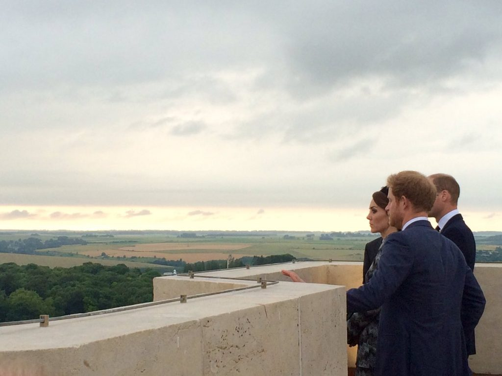 William, Kate, Harry view no mans land Somme