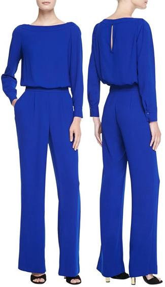 Diane von Furstenberg Cynthia Cosmic Cobalt Long Sleeve Jumpsuit