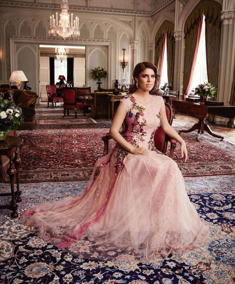 Princess Eugenie wears Alberta Ferretti in Harper's Bazaar