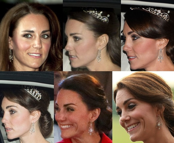 Queen's Diamond Chandelier Earrings on Kate Middleton