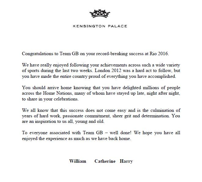 Team GB congratulations message from William, Kate, Harry