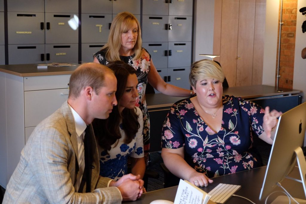 William and Kate talk with James Cordon's sister about SelfharmUK