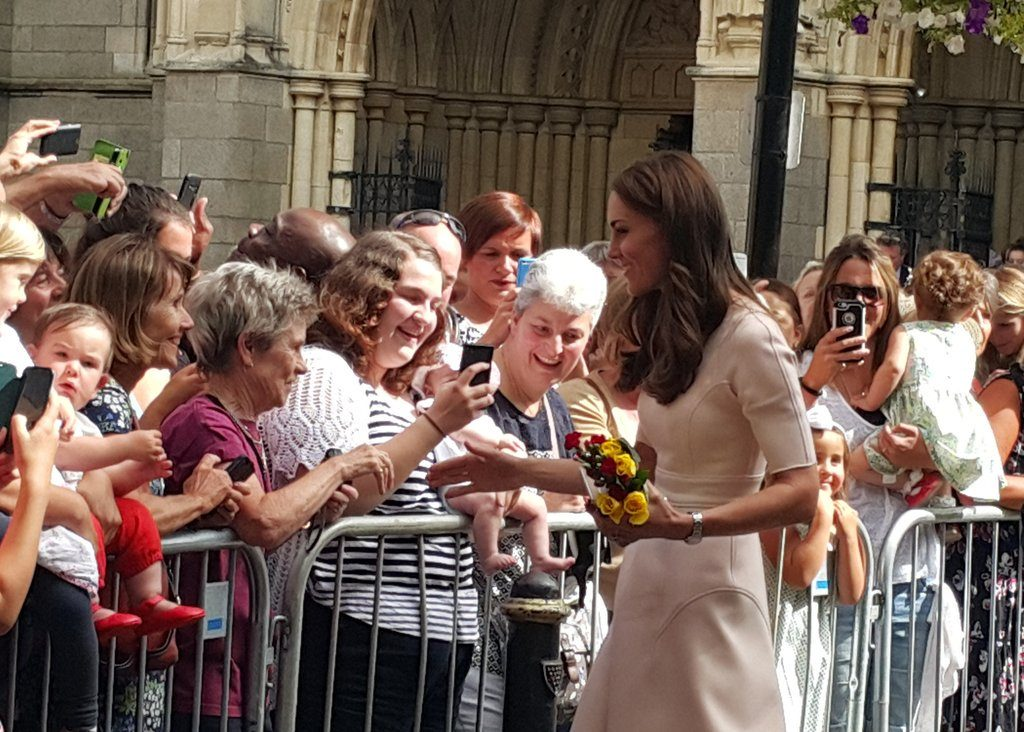 Kate meets crowds outside Truro Cathedral in Cornwall