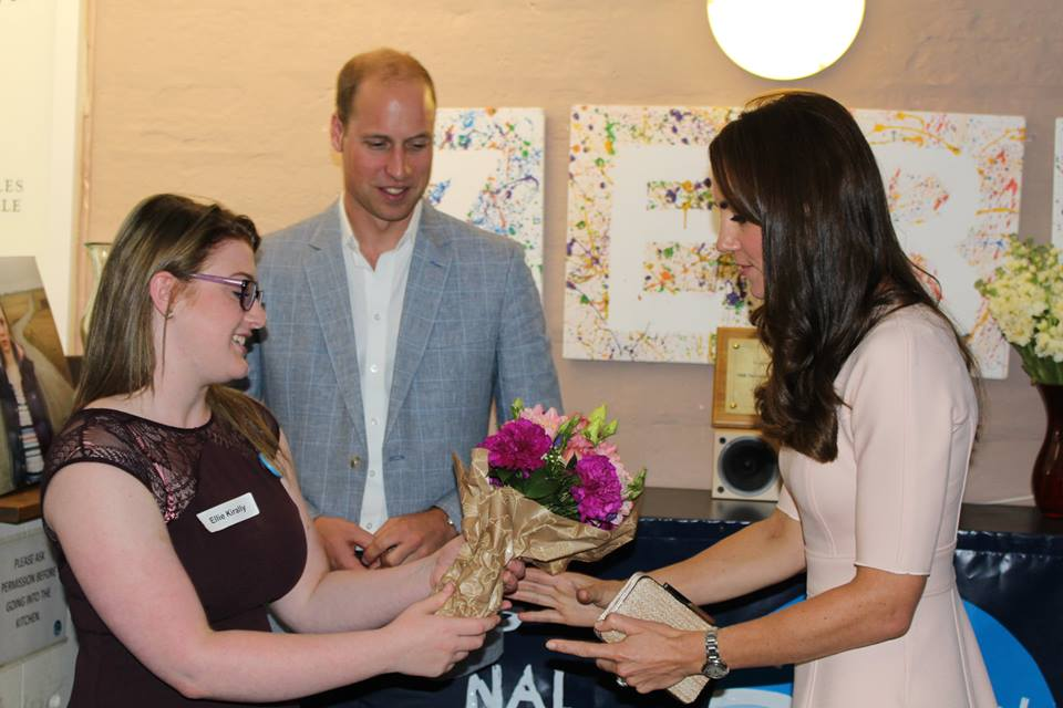 William and Kate presented with flowers at Zebs in Cornwall