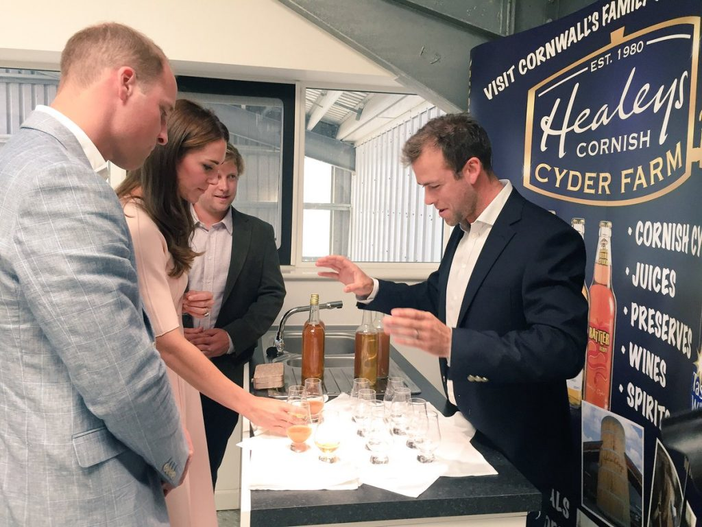 William and Kate sample apple juice at Healeys in Cornwall