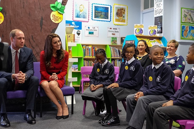 Kate and William talk to students at Place2Be Big Assembly Feb 2017 s