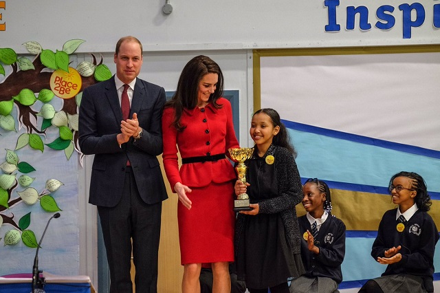 Kate presents kindness cup at Place2Be Big Assembly Feb 2017 s