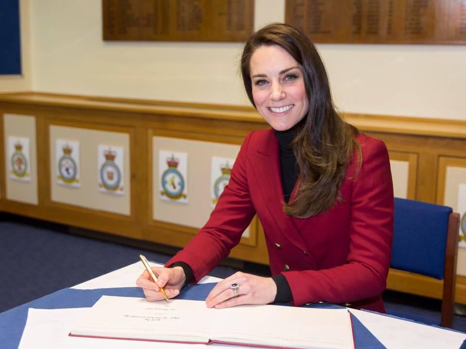 Kate signs Air Cadet guest book Feb 2017