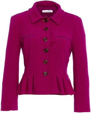 Oscar De La Renta Three Quarter Sleeve Pleated Jacket