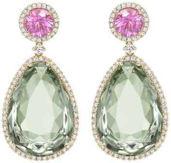 Kiki McDonough Candy Pink Tourmaline and Green Amethyst Drop Earrings