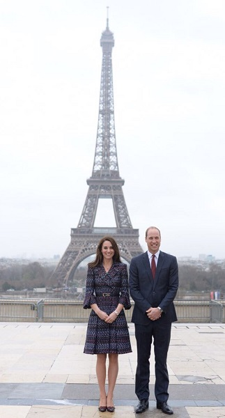 William and Kate pose in front of the Eiffel Tower in Paris March 2017