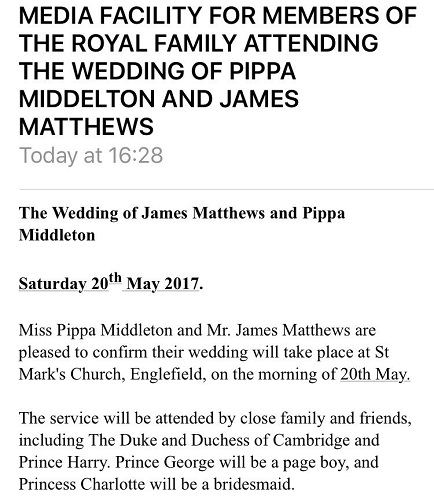 KP press release about Pippa's wedding