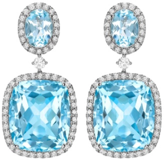 Kiki McDonough Blue Topaz and Diamond Drop Earrings in White Gold