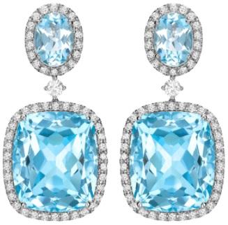 Kiki McDonough Blue Topaz and Diamond Drop Earrings in White Gold