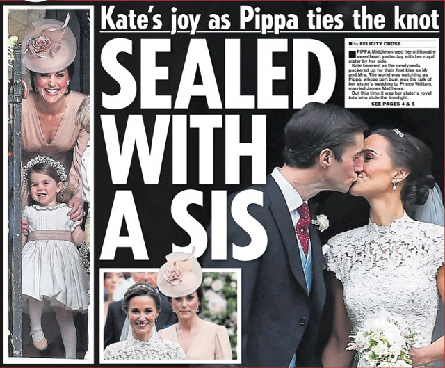 Pippa's wedding Daily Star cover Pippa Kate cs