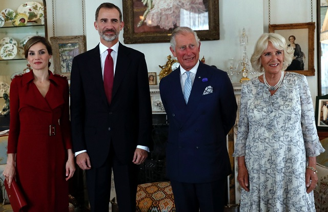 Felipe, Letizia have tea at Clarence House with Charles, Camilla UK State Visit Day 1 cs