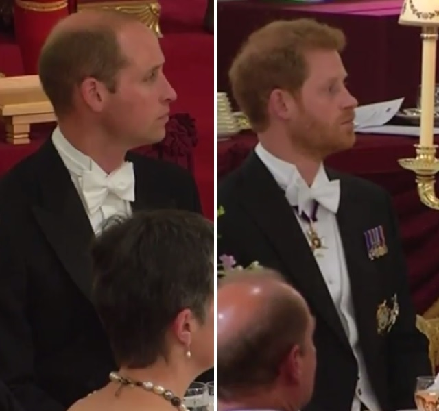 William, Harry at State Banquet UK State Visit 2017